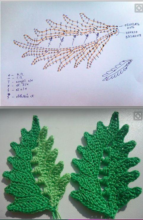 Вязание крючком листья папоротника 84