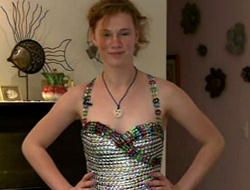 Prom Dress made from soda can tabs