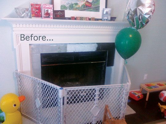 Before After A Stylish Babyproof Fireplace