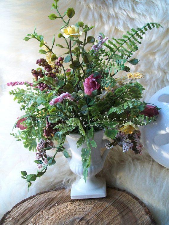 Tiny Floral Arrangement Mini Urn Arrangement Vintage Urn