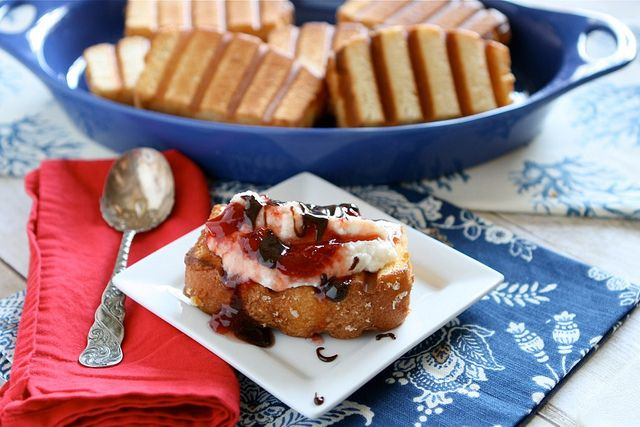 ... with Strawberry Sauce & Ricotta Cream by Hungry Housewife, via Flickr