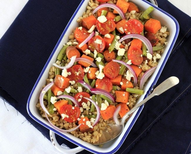 Barley and roast veggie salad with feta | For Amber Waves of Grain ...