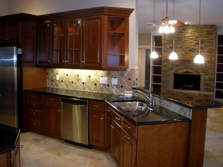 Cherry Wood Granite Countertops With Cherry Wood Cabinets