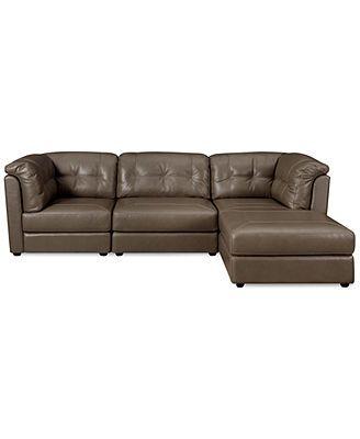 Fabian Leather 3 Piece Modular Sectional Sofa Square