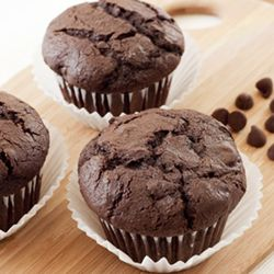 Big, beautiful, tender double chocolate muffins. Baking them with ...
