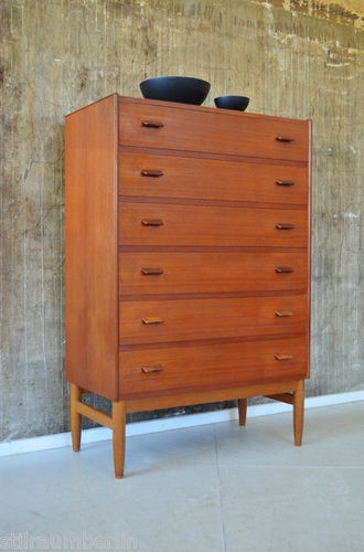 60er teak highboard kommode sideboard danish 60s chest. Black Bedroom Furniture Sets. Home Design Ideas