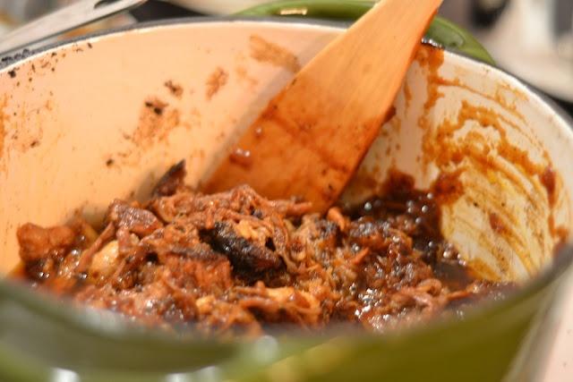 Pulled pork w/ bourbon orange coriander barbecue sauce~YUM