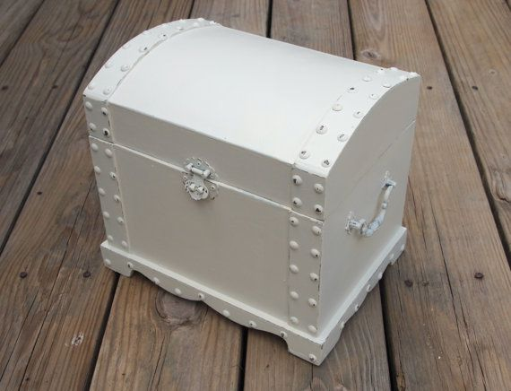 Treasure Chest - Wedding Gift Card Box - Shabby Chic White Distressed ...
