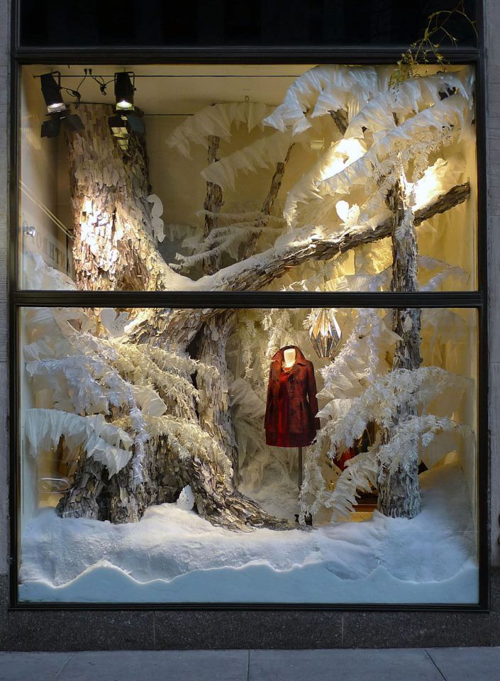 anthropologie winter window display winter decorating
