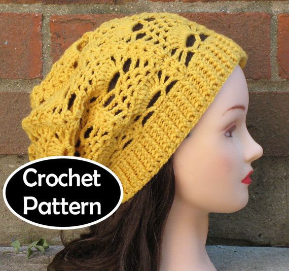 Crochet Patterns Pdf Free Download : CROCHET HAT PATTERN Pdf Instant Download - Delilah Slouchy Beanie Wom ...