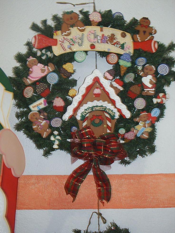 Corona con galletas de gengibre ideas para navidad - Coronas de navidad ...