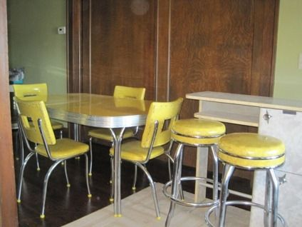 Retro Home Bar Sets | OBO 1950's Vintage Chrome & Formica Yellow Dinnette Set and Home Bar ...