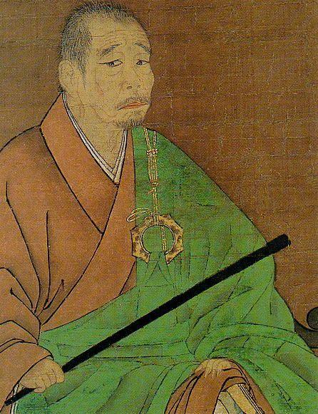 一休宗純 Ikkyū Sōjun (1394-1481): 頂相 chinzō; formal portrait of Ikkyū 酬恩庵 Shūon-an in Takigi (Tanabe, Kyoto Prefect.) It is nice to get a glimpse of a lady bathing-- You scrubbed your flower face and cleansed your lovely body  While this old monk sat in the hot water,  Feeling more blessed than even the emperor of China!