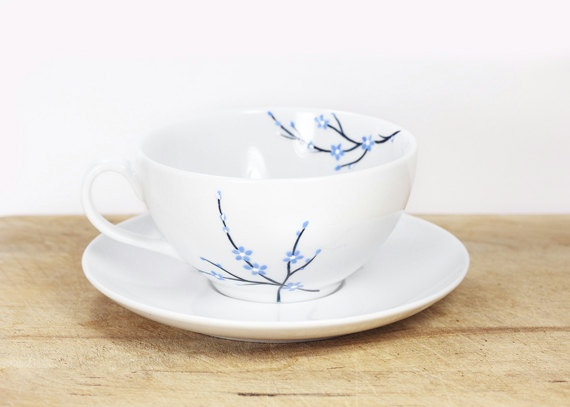 ♥ Beautiful ceramic cup and plate. NOT a DIY. by Sylwiaglassart on Etsy