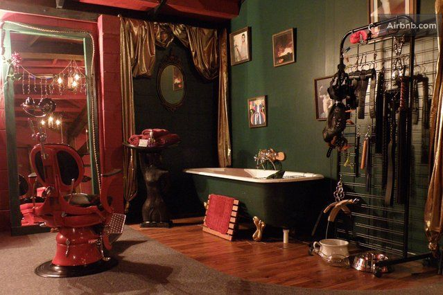 Pin by lady sophia chase on adult play spaces dungeons for Hotels with sex furniture