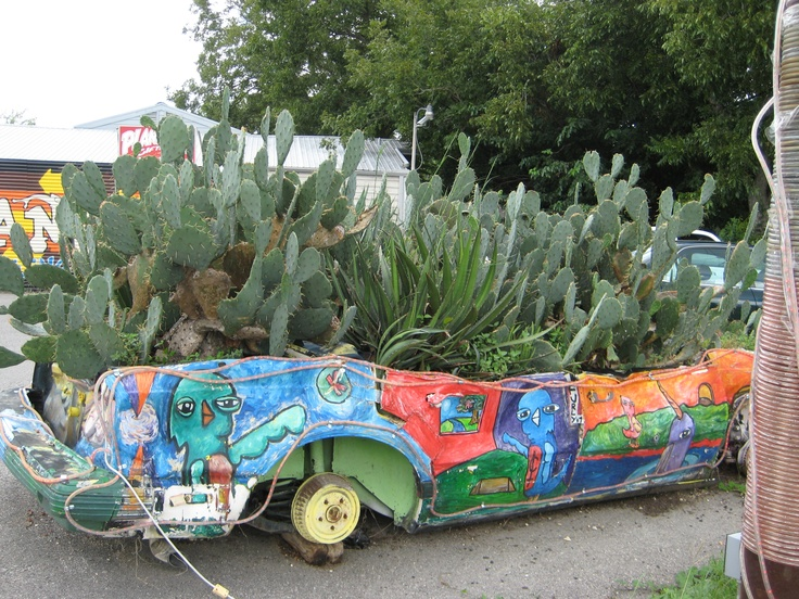 """Now, that's what I call a planter!  Where else but Austin, Texas.  You know what they say -- """"keep Austin weird""""!"""