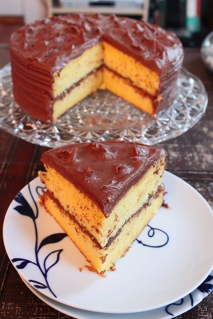 Lemon Chiffon Cake with Chocolate Frosting