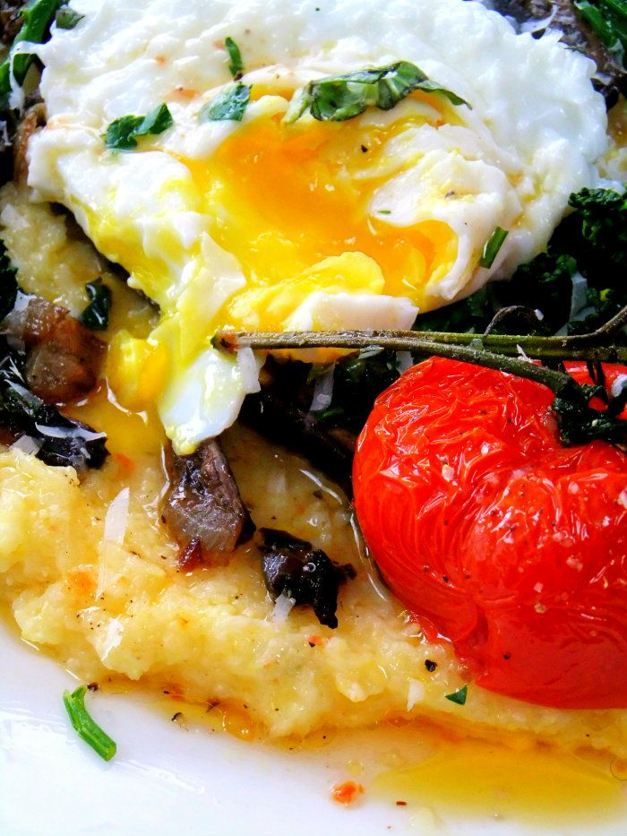 Creamy Warm Polenta with Broccoli Rabe, Mushrooms and Roasted Tomatoes ...