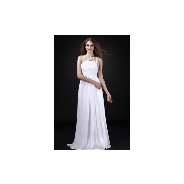 Fantastic empire one shoulder floor length beaded roxy s wedding dress
