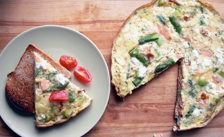 salmon, asparagus, and dill frittata with canned salmon, ricotta, and ...