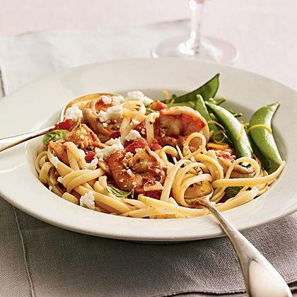 Greek-Style Shrimp Linguine-432 calories per serving-4 servings (1 1/4 ...