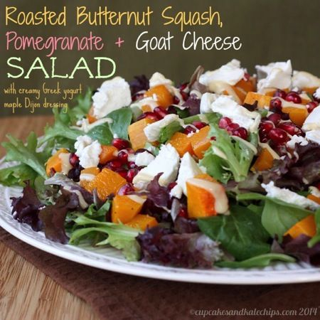 Roasted Butternut Squash, Pomegranate & Goat Cheese Salad (with Creamy ...