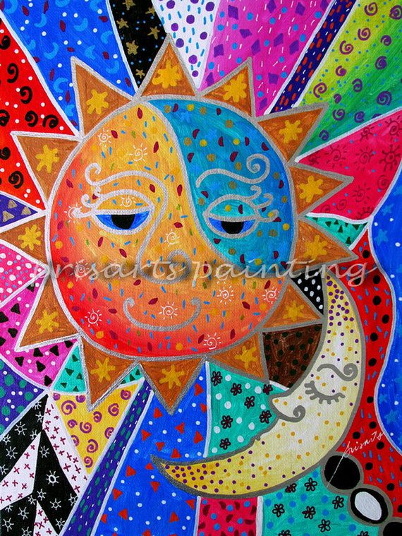 Folk Art Painting Mexican Sun and Moon Couple Love ...
