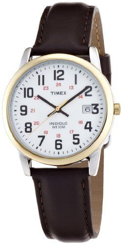 Timex Men's T2N5239J EZ Reader Round Bi-Metal Brown Leather Strap Watch Timex. $22.50. Water-resistant to 165 feet (50 M). Genuine leather strap. Easy to read dial. Case diameter: 35 mm. Easy to view in low light conditions with Indiglo night-light. Save 44%!