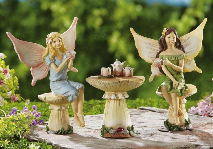 Adorable fairy fairies having tea party garden figurine for Fairy garden figurines
