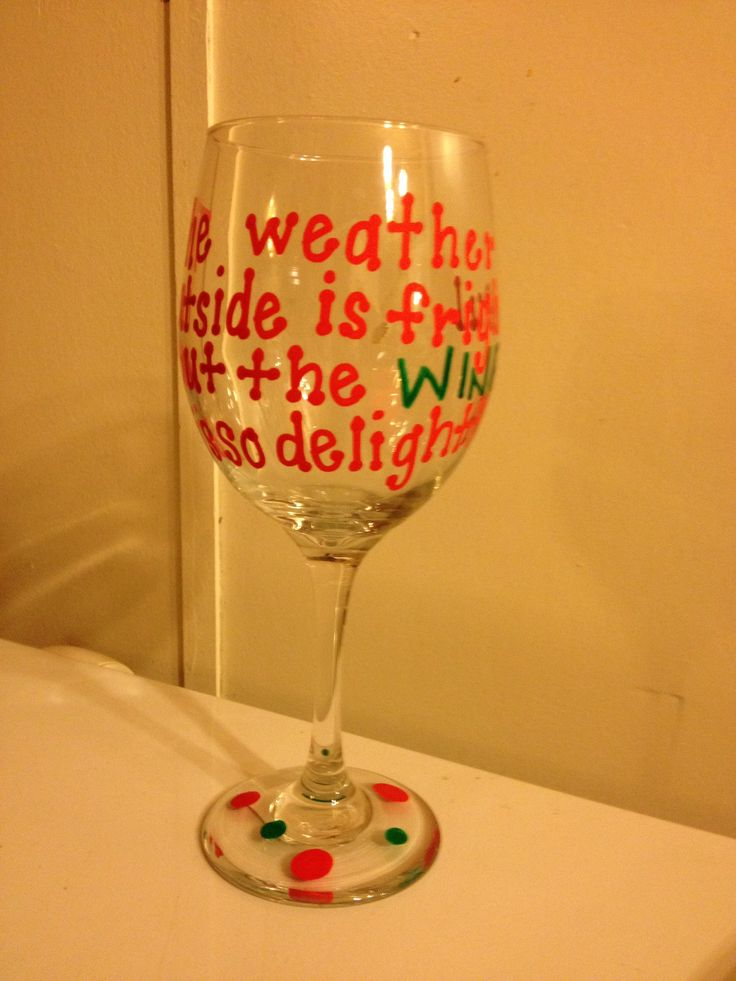 Hand painted wine glass wine christmas crafts pinterest for Hand painted wine glasses