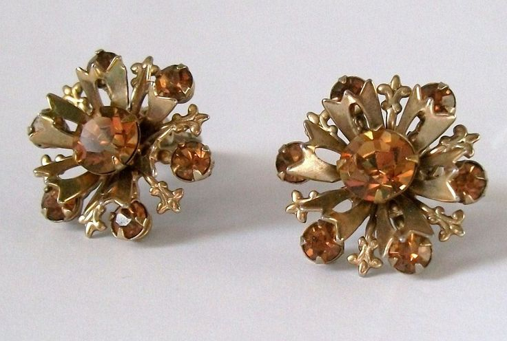 vintage clip on earrings costume jewelry