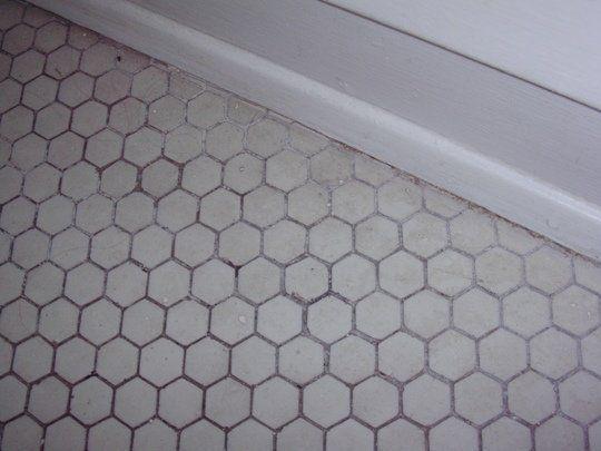Fantastic White Bathroom Honeycomb Tile Floor Glass Shower Door