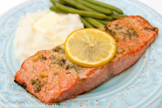 Baked Salmon with Garlic and Dijon - best salmon ever. Subbed dill for ...