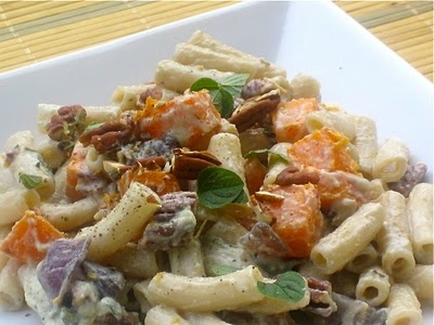 Creamy Penne with Roasted Butternut Squash, Pecans, and Oregano. Vegan