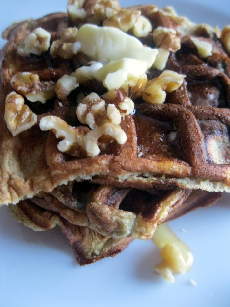 Banana Blueberry Waffles with Honey Walnut Syrup, and Gluten Free ...