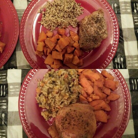 ... butternut squash & cranberries, & oven roasted chicken. (Very sim...