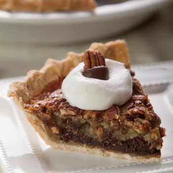 Black Bottom Pecan Pie with a decadent bottom layer of chocolate