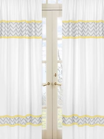 Zig zag chevron yellow white and gray window panel curtains whole