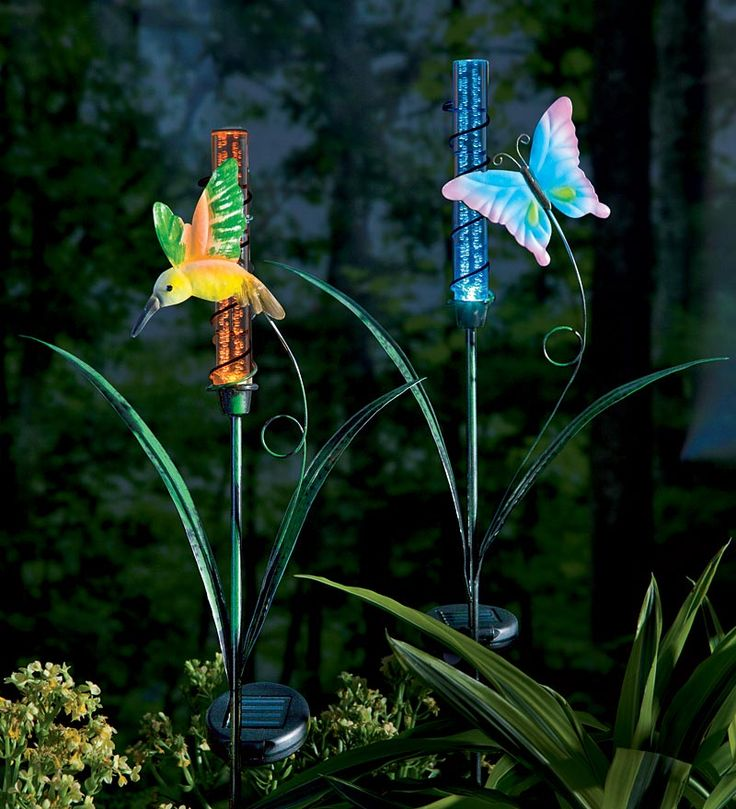 Solar color changing metal garden stake house and home pinterest for Solar garden stakes color changing