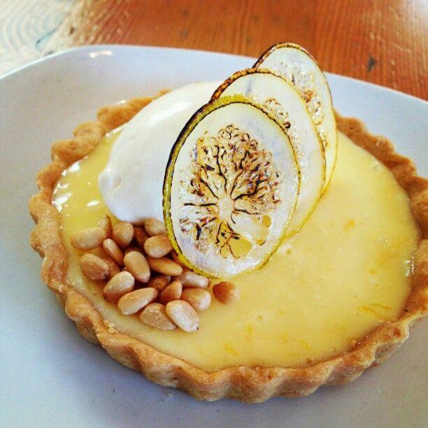 Tart : sweet cream , bruleed candied meyer lemon slices, toasted pine ...