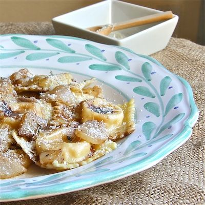 Butternut-Ricotta Filled Ravioli with Brown Butter Pears and Balsamic ...
