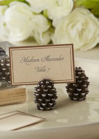 When Mother Nature plays a starring role in your wedding design this graceful miniature pinecone place card/photo holder speaks volumes about your loving connection to the world around you. Style 25119NA #fallweddings #davidsbridal