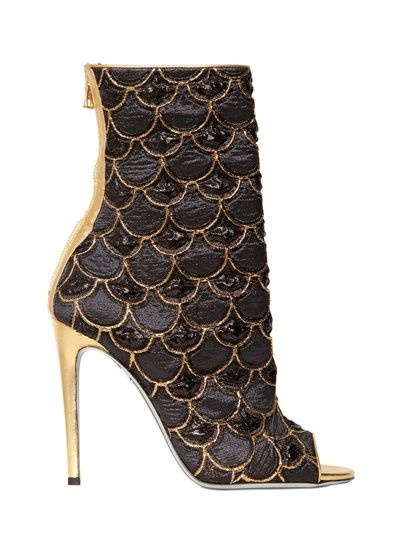 Shop now: Balmain - 110mm Lurex Embroidered Peep Toe Boots