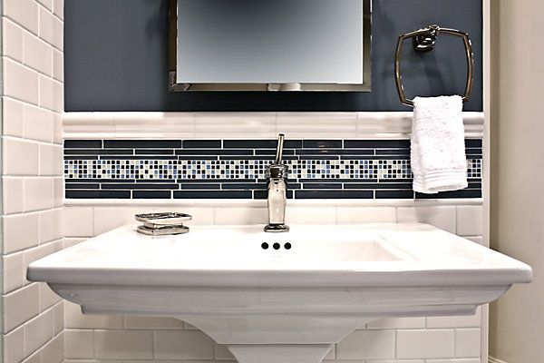 Love The Chair Rail And Accent Tile Bathroom Pinterest