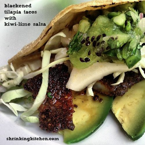 These Blackened Tilapia Tacos with Kiwi-Lime Salsa are a trip to So-Cal wrapped up in a corn tortilla. Delicious!