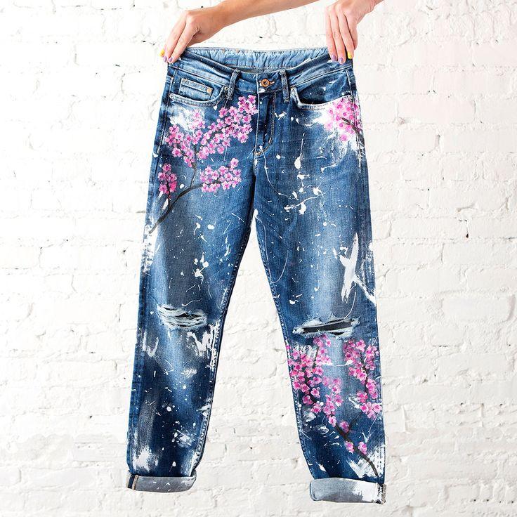 Рисунок на джинсы своими руками 68