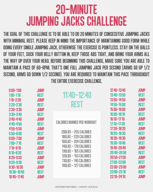 jumping jack challenge | Goodbye Fat | Pinterest