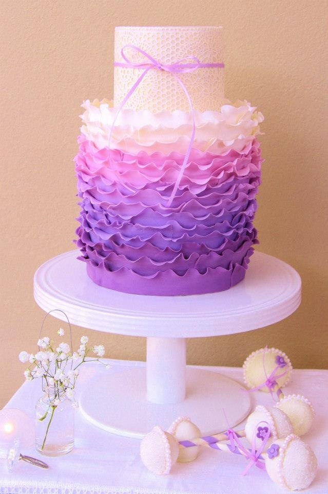 ombré ruffle baby shower cake with Sugarveil lace. Rattle Cake Pops ...