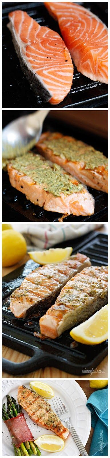Grilled Garlic Dijon Herb Salmon.....I changed the recipe quite a bit ...