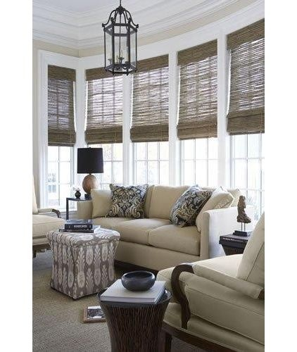 Woven wood shades sunroom ideas pinterest for Beach house window treatments